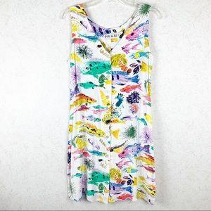 Jams World colorful fish button up tank dress